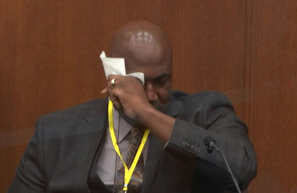 Philonise Floyd, brother of George Floyd, wiping away tears as he testifies on day 11 of the trial of former Minneapolis Police Officer Derek Chauvin at Hennepin County District Court, today.
