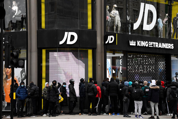 A line outside an athletic wear shop in central London early Monday.