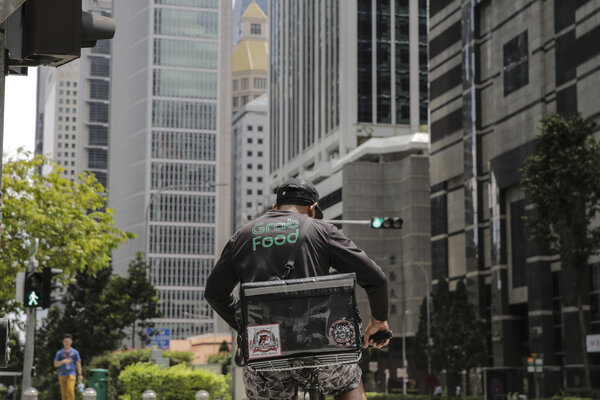 A Grab food delivery rider in Singapore.
