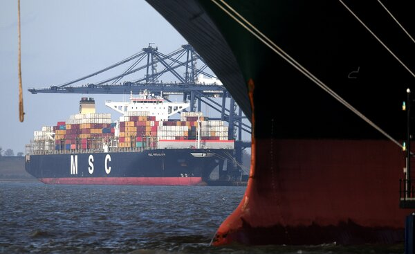 A container ship at the English port of Felixstowe. In January trade with the European Union plummeted as the new post-Brexit rules took hold, but exports have begun to improve.