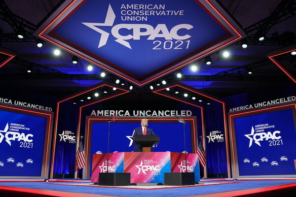 Former President Donald Trump spoke at CPAC in Orlando in February. Mr. Trump's influence on the Republican party still looms large.
