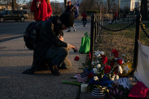 A memorial for Ashli Babbitt outside the Capitol in January.