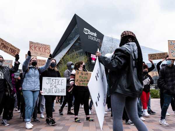 Students from Roosevelt High School in Minneapolis joined other students in a statewide walkout on Monday to protest racial injustice.