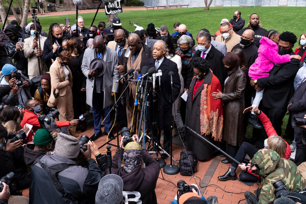Members of George Floyd's family gathered outside the courthouse on Monday with the Rev. Al Sharpton, the family of Daunte Wright, the lawyer Ben Crump, government officials and activists before closing arguments.