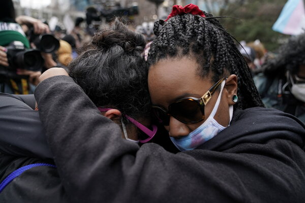 Women embraced outside the Hennepin County Government Center after the guilty verdicts were announced.