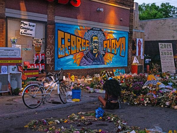 The George Floyd memorial site in Minneapolis last summer.