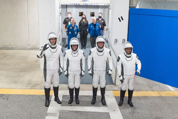 From left, the astronauts Thomas Pesquet of the E.S.A.; Megan McArthur and Shane Kimbrough of NASA; and Akihiko Hoshide of JAXA, during a dress rehearsal for the Crew-2 mission launch.