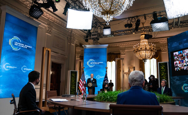 President Biden speaking on the second day of a virtual summit, he convened to galvanize world leaders to do more to tackle climate change.
