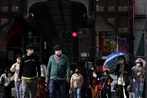 On Friday in Osaka, where a state of emergency will come into effect this weekend.