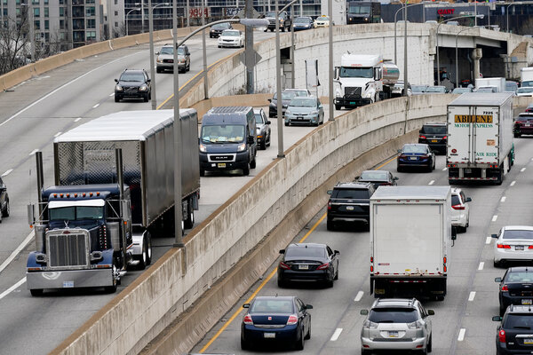 Traffic in Philadelphia last month. BP reported higher earnings on Tuesday, and said it expected demand for oil would continue to recover from the pandemic.