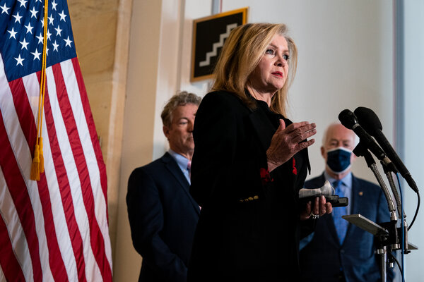 """Senator Marsha Blackburn, Republican of Tennessee, said the American Families Plan would """"incentivize women to rely on the federal government."""""""