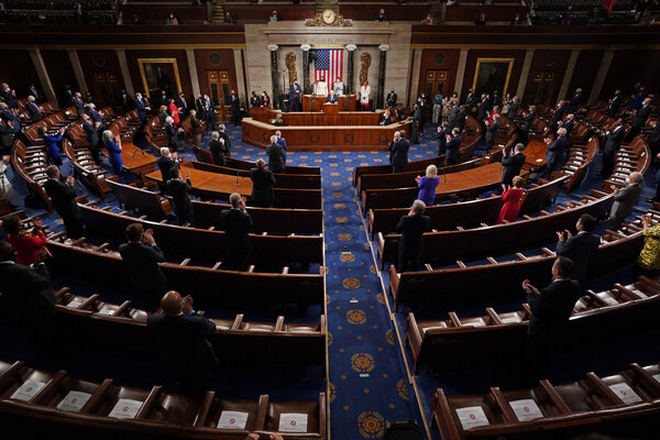 President Biden delivers an address to a joint session of Congress at the Capitol on Wednesday.