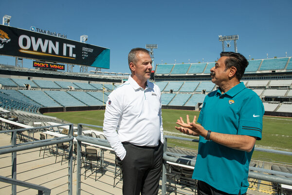 Jaguars Coach Urban Meyer, left, and the team's owner, Shad Khan, are ready for the franchise's moment in the spotlight.