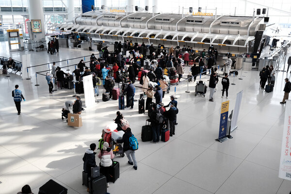 An international terminal at John F. Kennedy Airport in January.