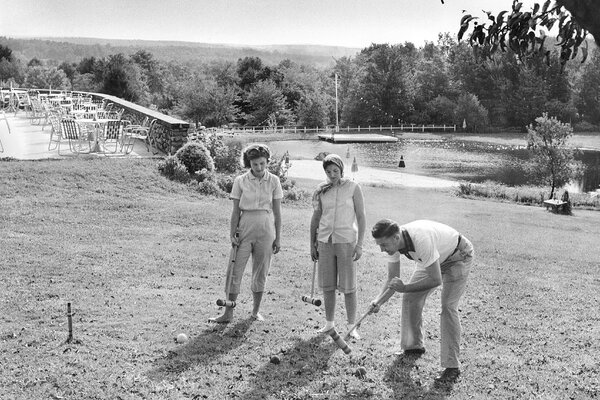 Enjoying a game of croquet at the Merry Hill Lodge in Cresko, Pa., in 1956.