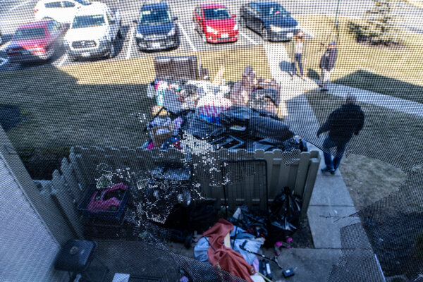 Items being removed from a home during an eviction in the unincorporated community of Galloway, west of Columbus, Ohio, in March.