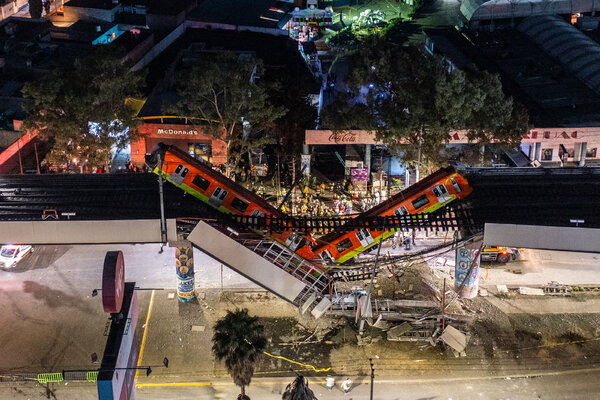 The site where a train plunged off an overpass that partly collapsed on Monday night in Mexico City.