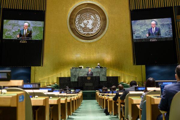 The president of the United Nations General Assembly, Volkan Bozkir, speaking at U.N. headquarters in New York in September.