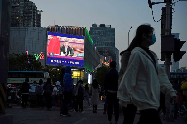 "President Xi Jinping on a screen in Beijing last month. The Chinese government's aggressive brand of ""wolf warrior"" diplomacy has drawn criticism from other countries."