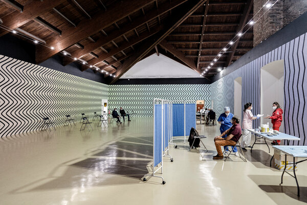 Vaccinations have begun at Castello di Rivoli, a contemporary museum near Turin, Italy. The art installation is a wall painting by Claudia Comte, a Swiss artist.