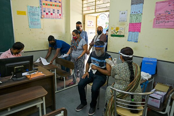 A vaccination center at a school in New Delhi on Wednesday.