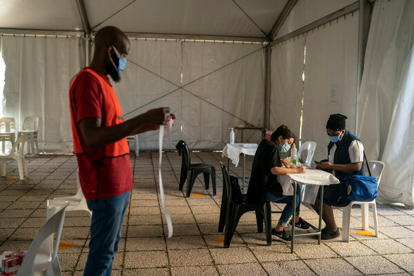 A vaccination center in Johannesburg in March.