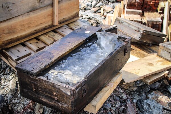 A box that had been used for munitions was found filled with ice.