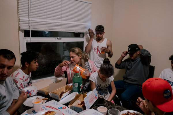 Family and friends gathered to celebrate her 11th birthday with pizza and a tres leches cake.