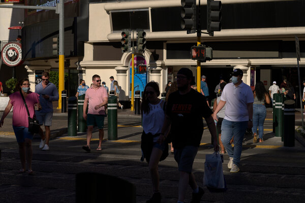 Along the Strip in Las Vegas last week. There is consensus among scientists and public health experts that the herd immunity threshold is not attainable.