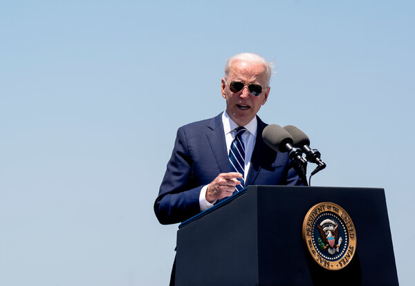 President Biden spoke about his American Jobs Plan in Lake Charles, La., on Thursday.