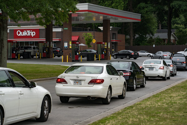 Drivers line up at a QuickTrip filling station in Atlanta on Tuesday.