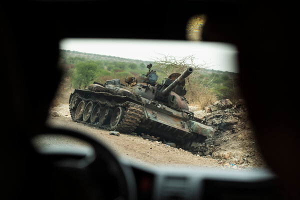 A destroyed tank on the side of the road near Humera in the western area of Tigray earlier this month.