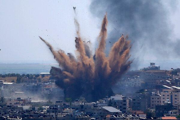 An Israeli airstrike in Gaza City on Thursday.