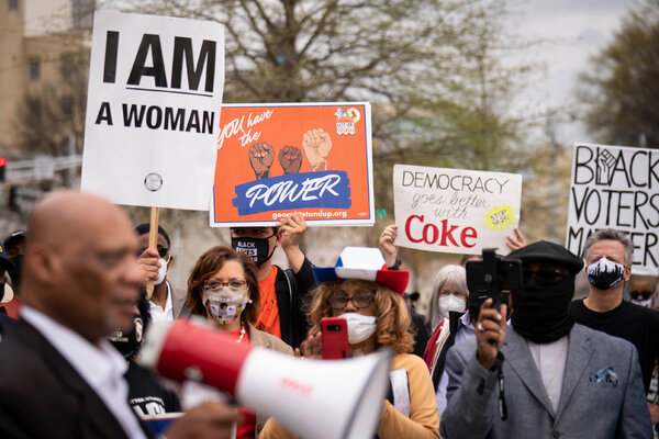 Coca-Cola and other corporations have drawn fire from Republicans for criticizing Georgia's new voting law. This protest, in March, put pressure on Coca-Cola to speak out against the law.