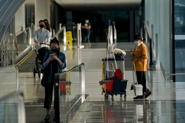 Changi Airport in Singapore this week.The airport outbreak began with an 88-year-old member of the airport cleaning crew who was fully vaccinated but who tested positive for the virus on May 5.