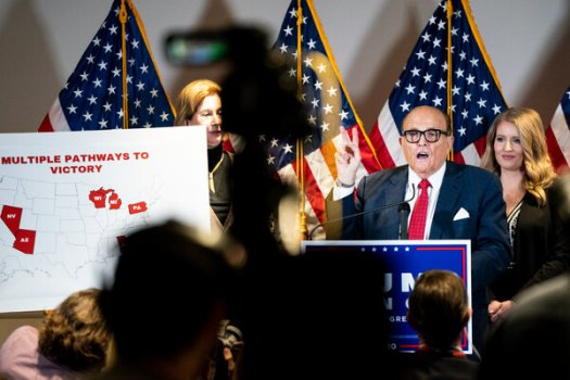 Rudolph W. Giuliani, a lawyer for former President Donald J. Trump, disputing the results of the election won by Joseph R. Biden Jr.