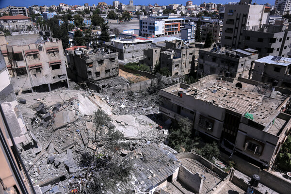 A residential building in Gaza on Tuesday after it was bombed by Israeli warplanes.