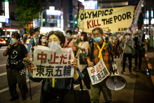 A protest against the Olympics in Tokyo on Monday. The Games are still scheduled to start July 23.