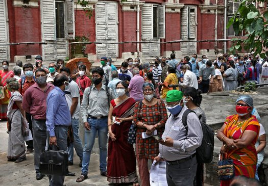 People waiting to receive their second dose of Covishield vaccine in Kolkata, India, last week, which is manufactured by the Serum Institute of India.