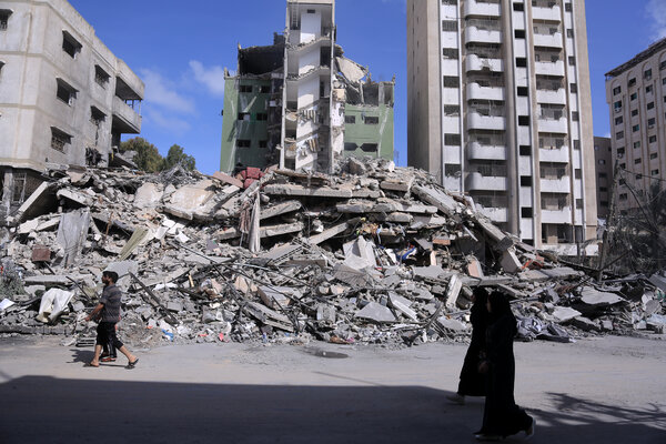 An apartment building in the Gaza Strip that was destroyed by an Israeli attack.