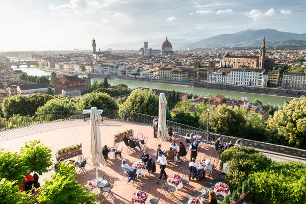 Dining in Florence, Italy, this week. Pressure has built on the government to be more flexible to save the tourism season and to allow Italians to get vaccinated in sun-and-surf regions far from home.
