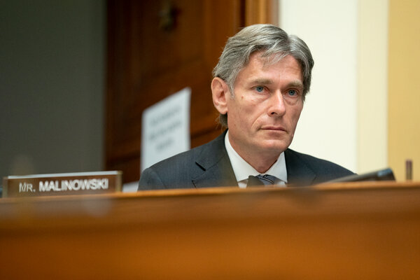 Representative Tom Malinowski at a House Foreign Affairs Committee hearing in September. He is under scrutiny for profiting from trading medical and tech stocks at the height of the pandemic last year.