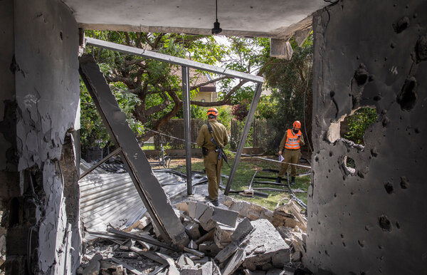 A home in Ashkelon in southern Israel on Thursday that was damaged in a rocket attack from Gaza.