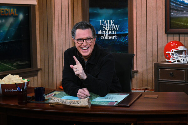 Stephen Colbert during a Super Bowl Special on Feb. 7, filmed from a smaller studio without a live audience.