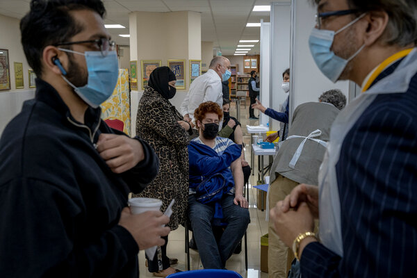 A vaccination site at Brent Central Mosque in London in early April.