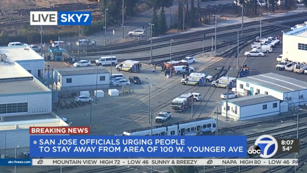 The authorities responded to the scene of a shooting at a light rail yard in San Jose, Calif., on Wednesday.