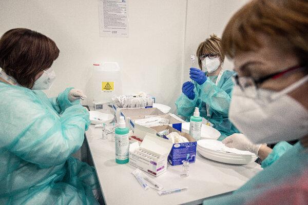 Preparing doses of the AstraZeneca vaccine in Bratislava, Slovakia, last month.