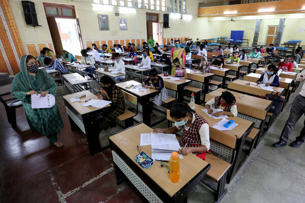 Students taking supplementary exams in Bhopal, India, in September.
