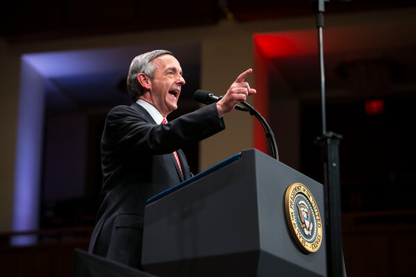 Robert Jeffress, a Baptist pastor from Dallas, at a rally for President Donald J. Trump in 2017.