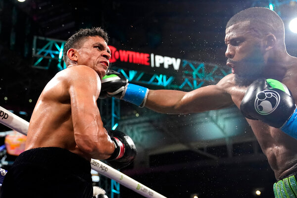 Badou Jack, right, scored an easy technical knockout win agains Dervin Colina.